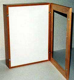 Photo of hinged front on light box.
