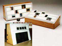 Photo of slant top light boxes.